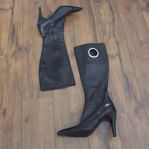 ALDO - Black Leather & Silver Grommet Boots